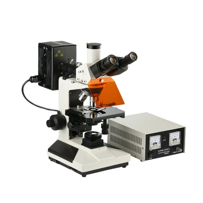 Microscopio Trinocular Epifluorescencia L-2001B-YL, Óptica Plana, 5 Objetivos, Revólver Invertido, Lámpara Epi HBO, Koehler Halógena